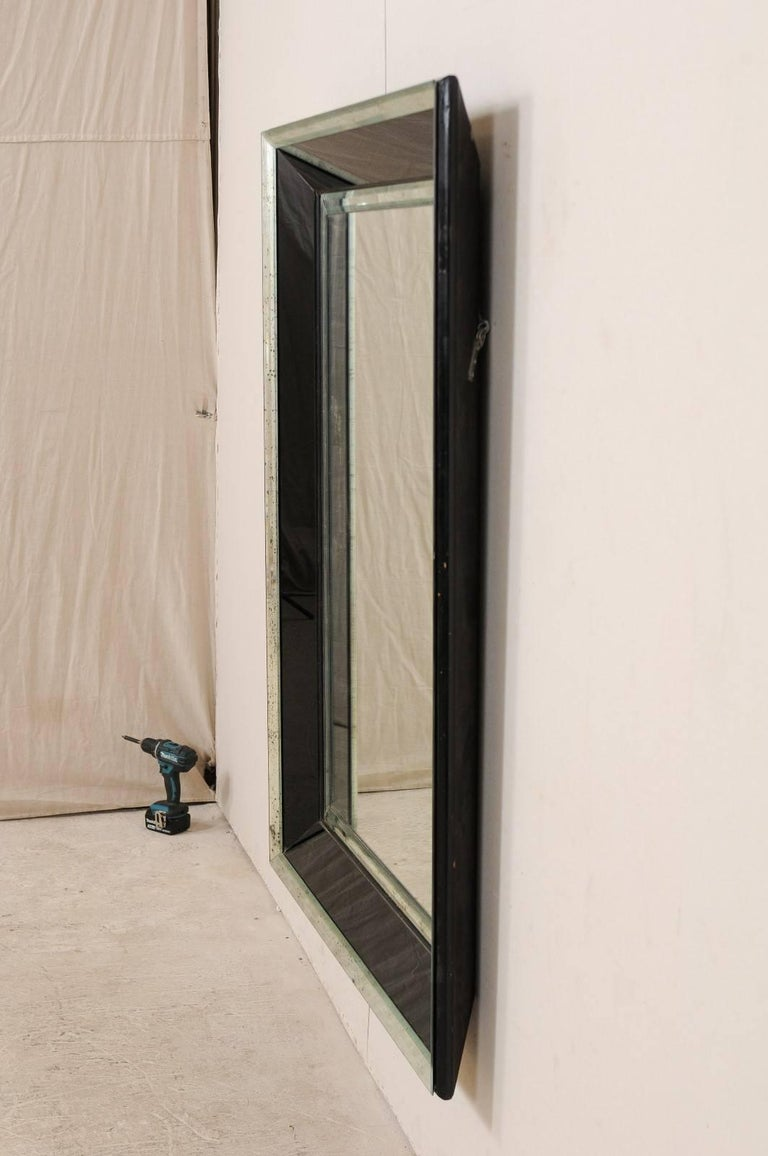 5.75 Ft Tall Rectangular Mirror Accentuated w/ Black & Antiqued Glass Surround  For Sale 4