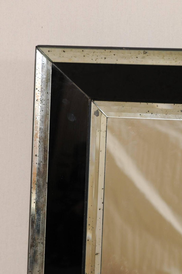 20th Century 5.75 Ft Tall Rectangular Mirror Accentuated w/ Black & Antiqued Glass Surround  For Sale