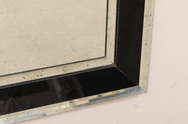 5.75 Ft Tall Rectangular Mirror Accentuated w/ Black & Antiqued Glass Surround  For Sale 3