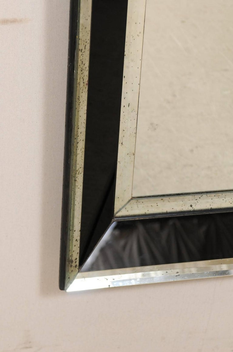 5.75 Ft Tall Rectangular Mirror Accentuated w/ Black & Antiqued Glass Surround  For Sale 2