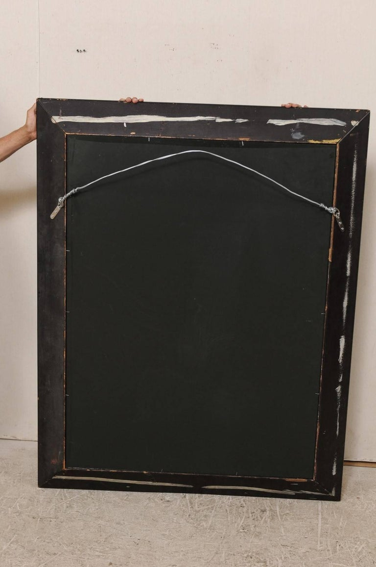 5.75 Ft Tall Rectangular Mirror Accentuated w/ Black & Antiqued Glass Surround  For Sale 5
