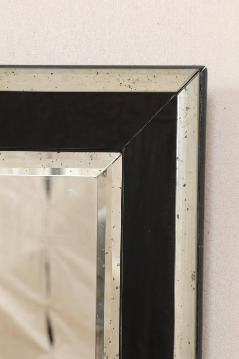 5.75 Ft Tall Rectangular Mirror Accentuated w/ Black & Antiqued Glass Surround  For Sale 1