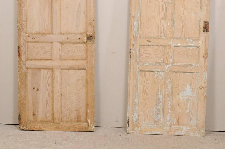Set of Four French Single Light Wood Antique Doors from the 19th Century In  Good Condition - Set Of Four French Single Light Wood Antique Doors From The 19th
