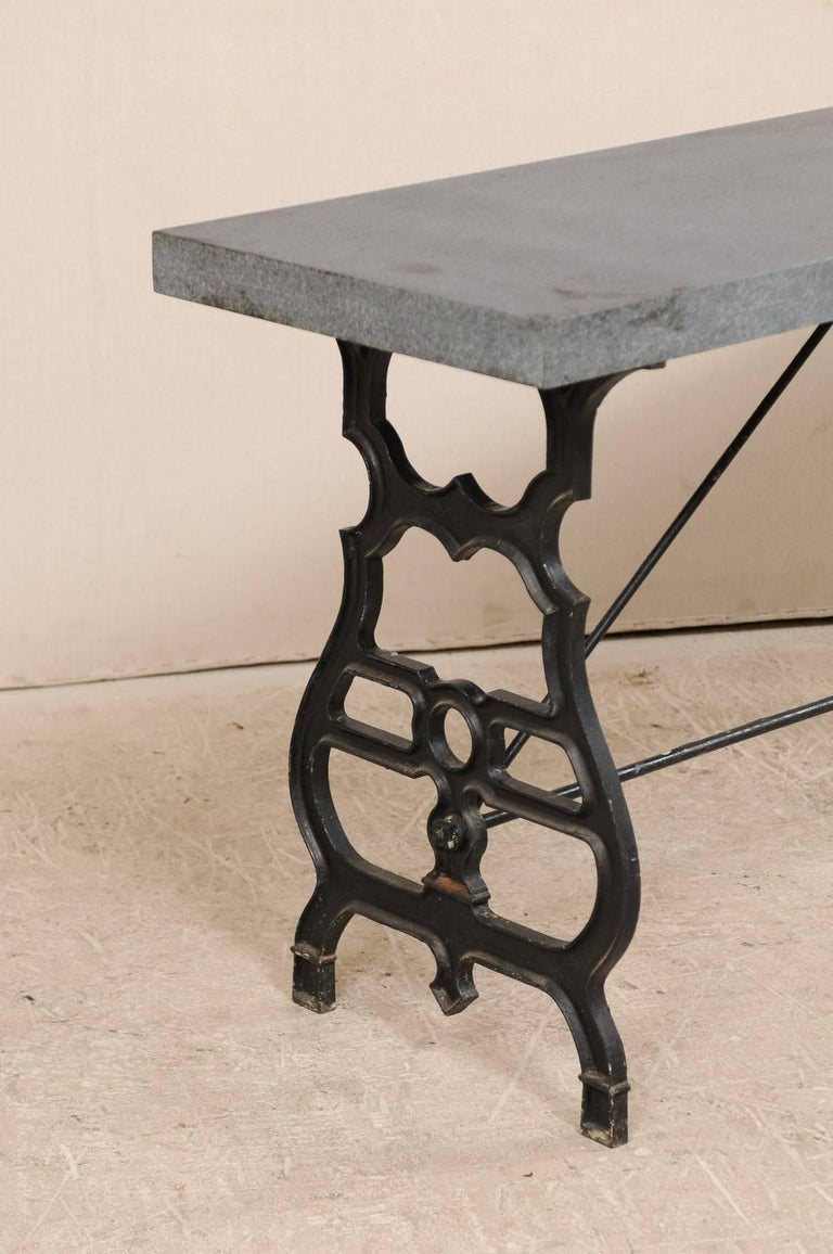 Forged French Iron & Granite Early 20th Century Console / Desk Table in Black and Grey For Sale