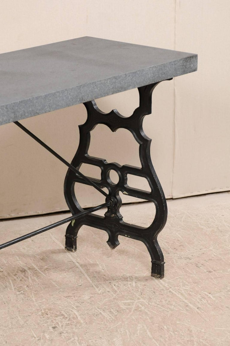 French Iron & Granite Early 20th Century Console / Desk Table in Black and Grey In Good Condition For Sale In Atlanta, GA