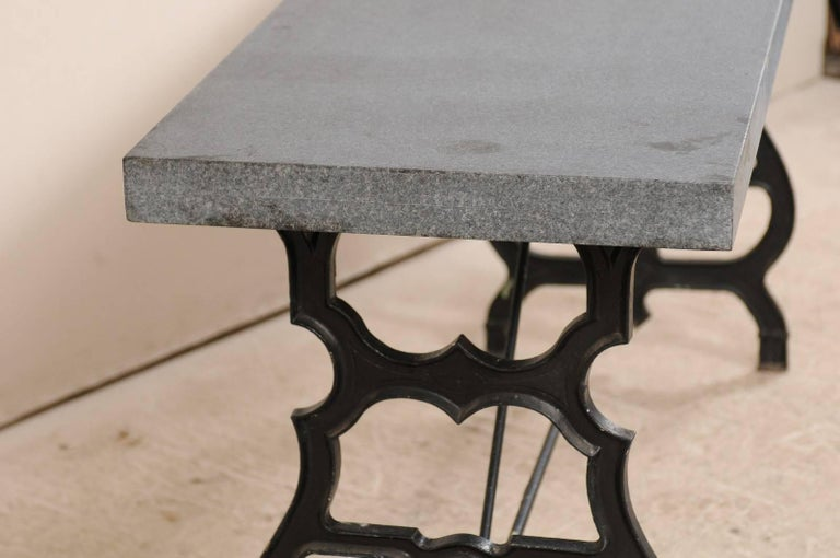 French Iron & Granite Early 20th Century Console / Desk Table in Black and Grey For Sale 5