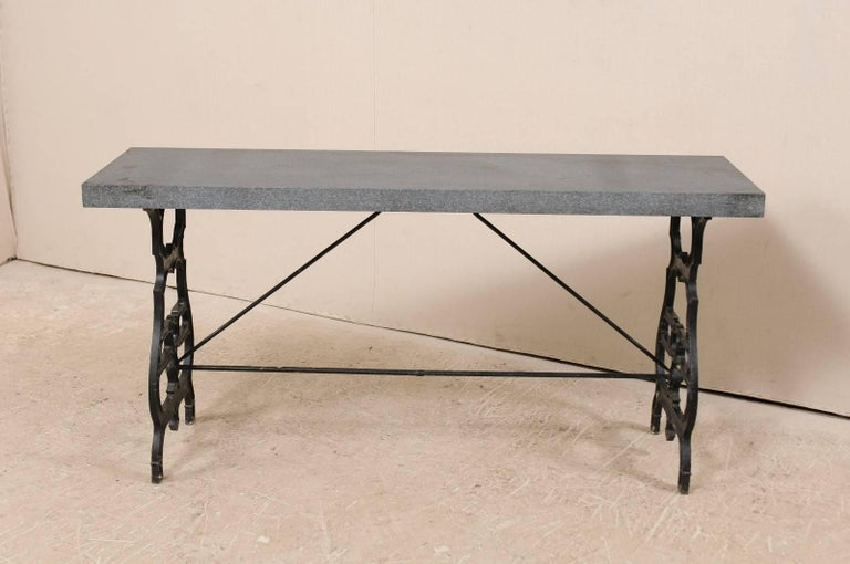 French Iron & Granite Early 20th Century Console / Desk Table in Black and Grey For Sale 1