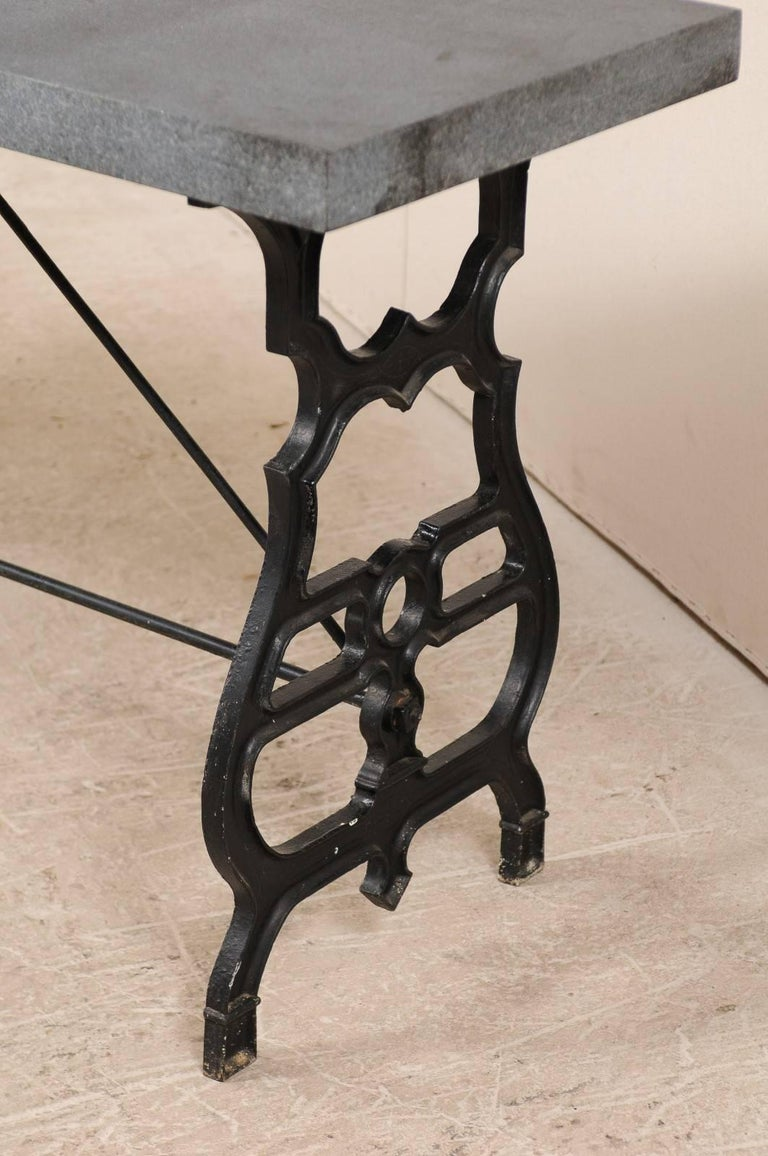 French Iron & Granite Early 20th Century Console / Desk Table in Black and Grey For Sale 3