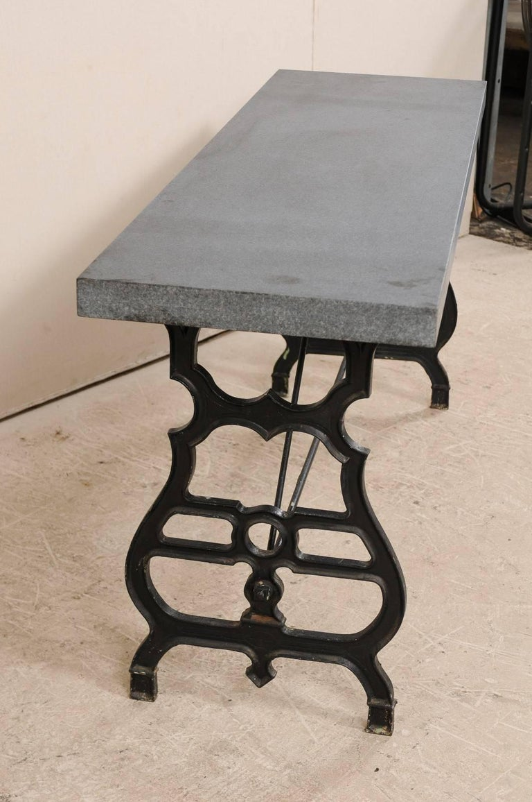 French Iron & Granite Early 20th Century Console / Desk Table in Black and Grey For Sale 4