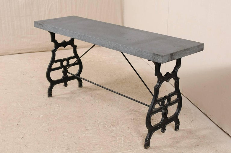 French Iron & Granite Early 20th Century Console / Desk Table in Black and Grey For Sale 2