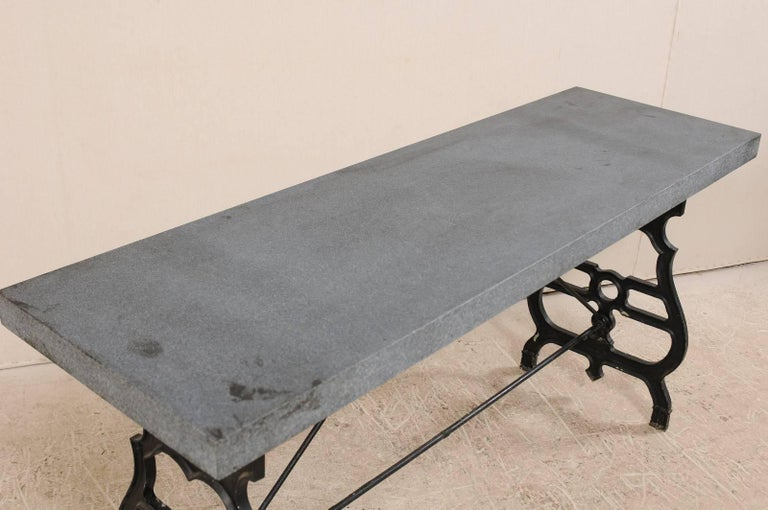 French Iron & Granite Early 20th Century Console / Desk Table in Black and Grey For Sale 6