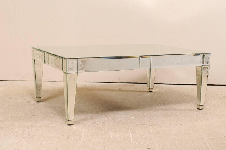 A Vintage Venetian Style Mirror Coffee Table This American Handmade And Hand Silvered Mirrored