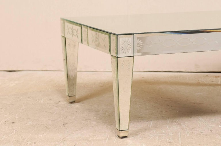 French Vintage Venetian Style Mirrored Coffee Table Handmade And Hand Silvered For