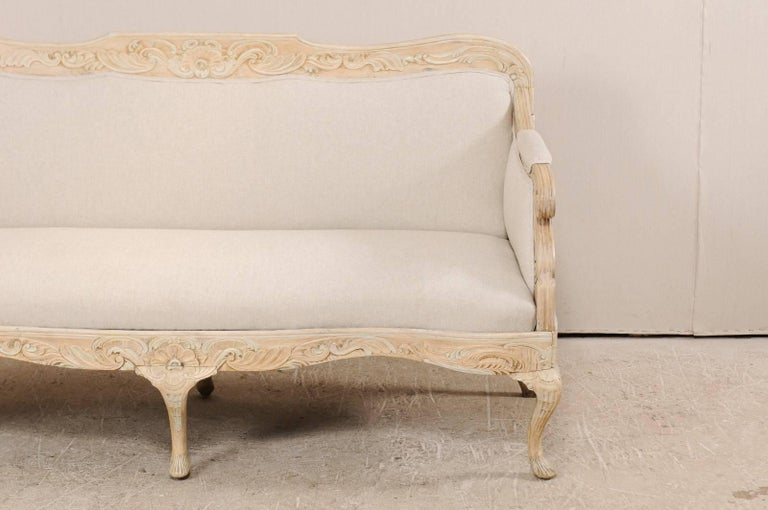 Danish Period Rococo 18th Century Sofa with Beautiful Floral Carved Details In Good Condition For Sale In Atlanta, GA