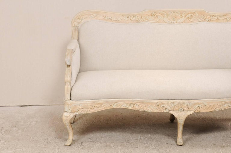 European Danish Period Rococo 18th Century Sofa with Beautiful Floral Carved Details For Sale