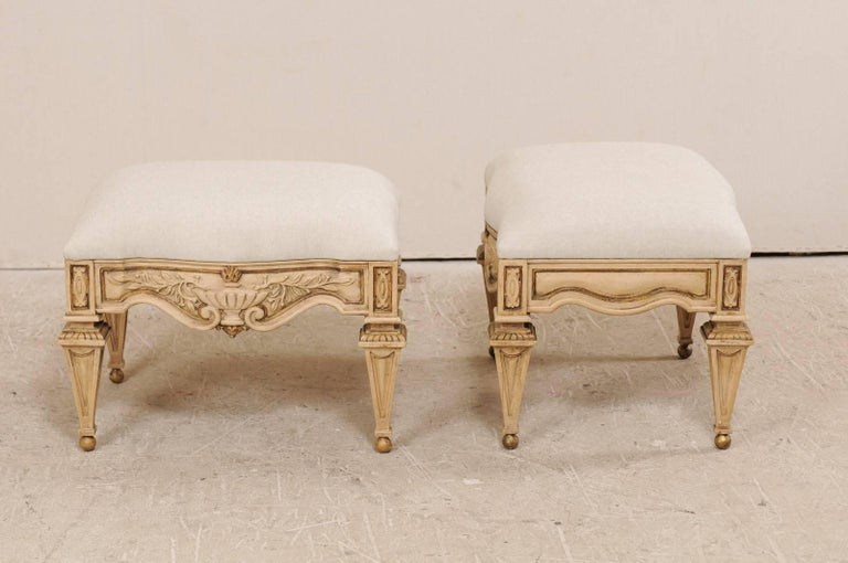 Pair Of Italian Style Carved Ash Wood Upholstered Vintage