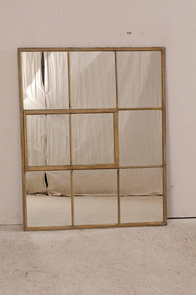 Patinated French Early 20th Century Large Paneled Mirror With Original Painted Iron Frame For