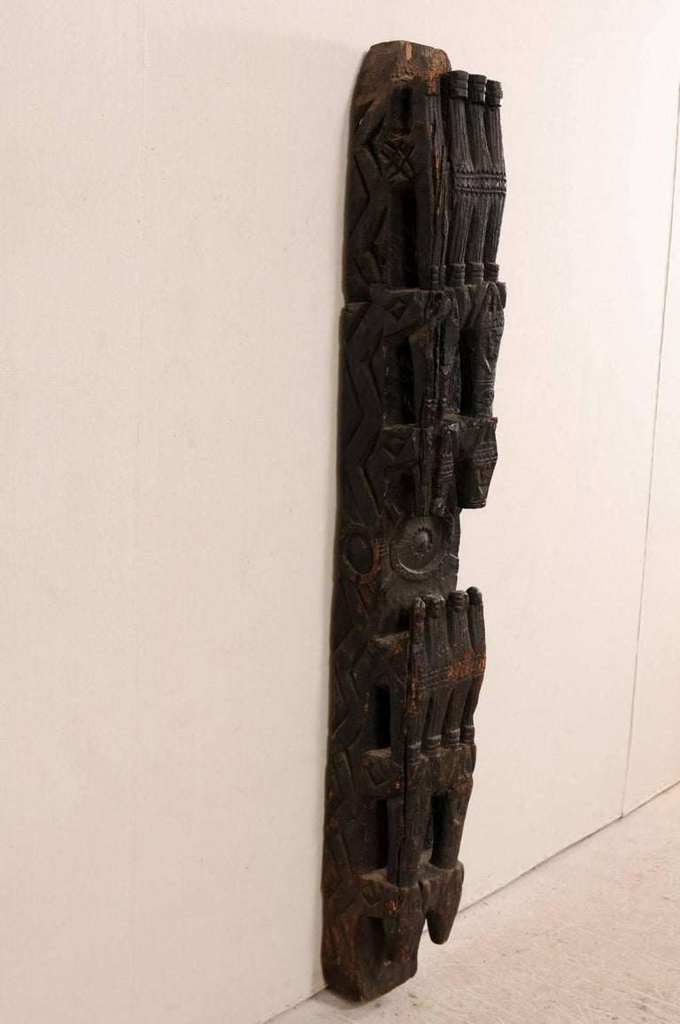 Asian early th century carved dark wood support beam