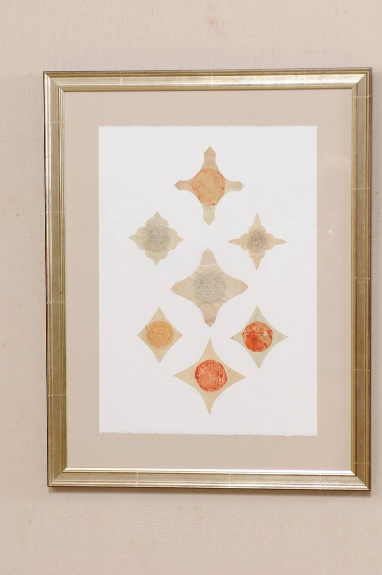 Pair of Framed Original 18th Century Swedish Seals Cut and Placed Artfully In Good Condition For Sale In Atlanta, GA