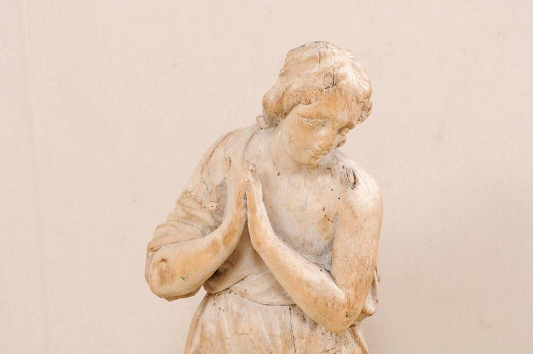 French 18th Century Carved Wood Female Figure Kneeling in Prayer For Sale