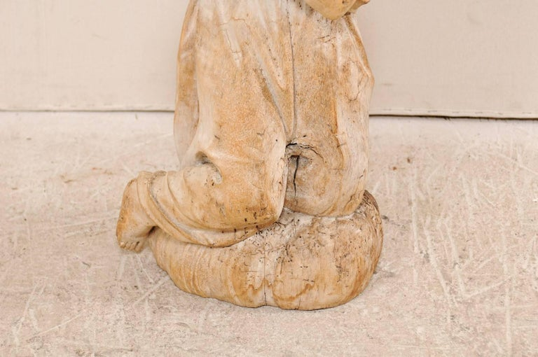 18th Century and Earlier 18th Century Carved Wood Female Figure Kneeling in Prayer For Sale