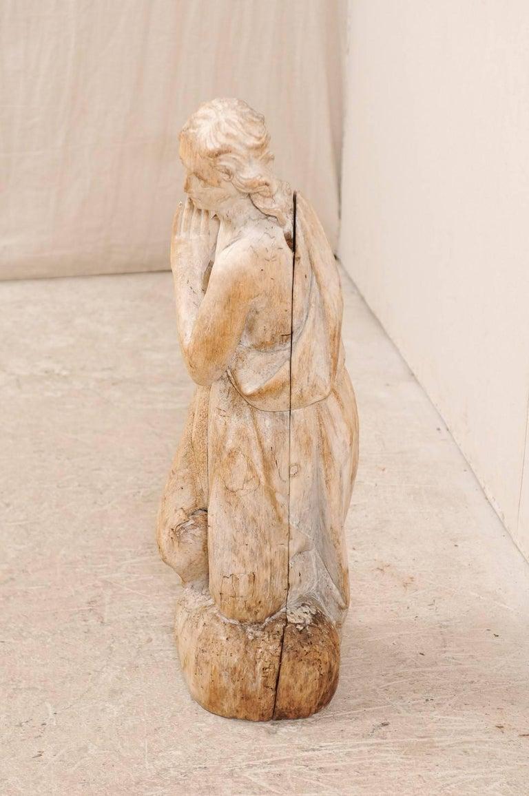 18th Century Carved Wood Female Figure Kneeling in Prayer For Sale 1
