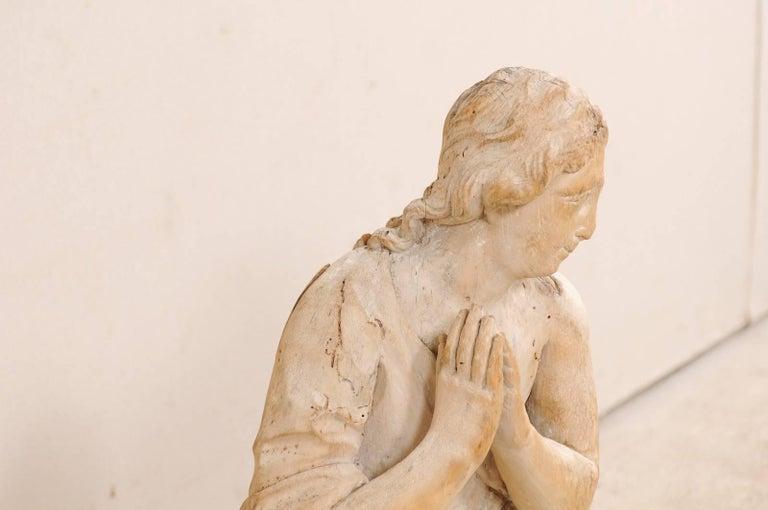 18th Century Carved Wood Female Figure Kneeling in Prayer In Good Condition For Sale In Atlanta, GA