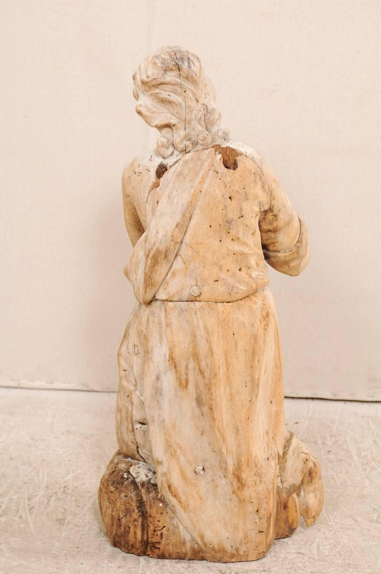 18th Century Carved Wood Female Figure Kneeling in Prayer For Sale 3
