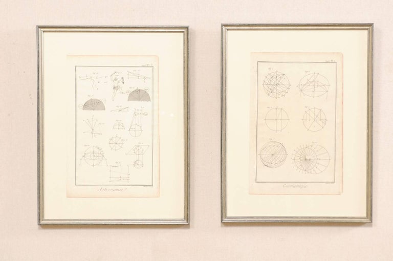 A pair of framed French 18th century Bernard Direx renderings. This is a pair of framed astronomy and geometric renderings from French artist Bernard Direx. Each rendering was originally part of a larger book, and are copper plate engraved (a