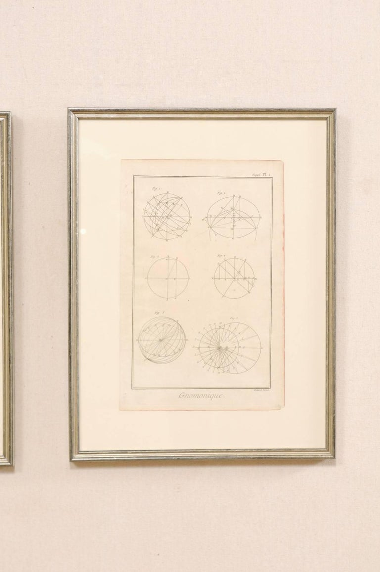 18th Century and Earlier Pair of 18th Century French Framed Bernard Direx Astronomy / Geometric Rendering For Sale
