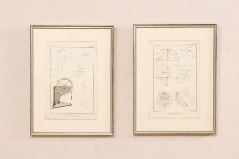 A pair of framed French, 18th century Bernard Direx renderings. This is a pair of framed mechanical and geometric renderings from French artist Bernard Direx. Each rendering was originally part of a larger book, and are copper plate engraved (a