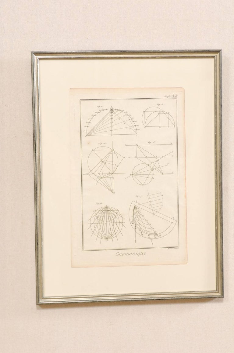 Pair of Mechanical and Geometrical French, 18th Century Framed Renderings In Good Condition For Sale In Atlanta, GA