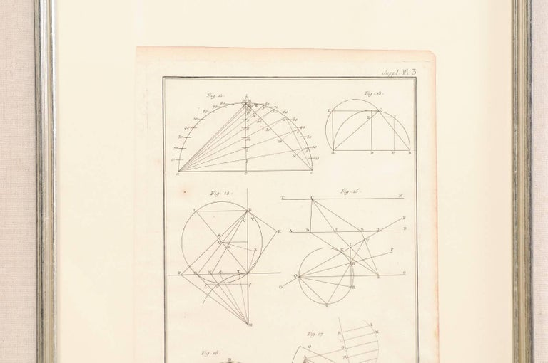 18th Century and Earlier Pair of Mechanical and Geometrical French, 18th Century Framed Renderings For Sale