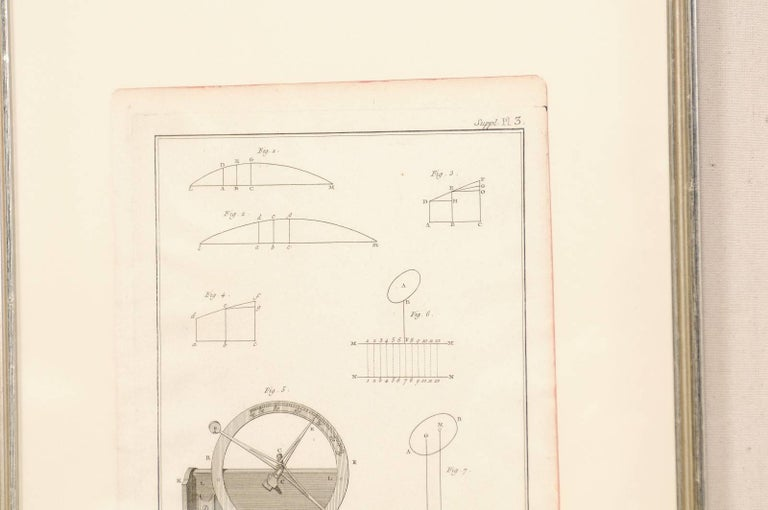 Pair of Mechanical and Geometrical French, 18th Century Framed Renderings For Sale 1
