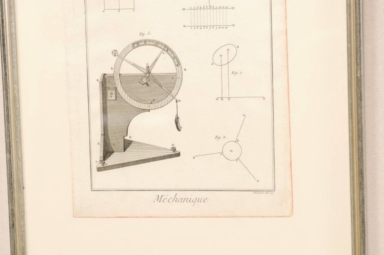 Pair of Mechanical and Geometrical French, 18th Century Framed Renderings For Sale 2