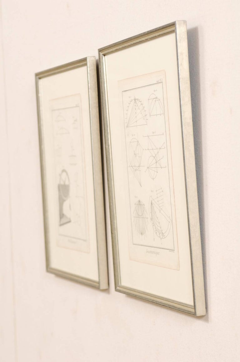 Pair of Mechanical and Geometrical French, 18th Century Framed Renderings For Sale 3