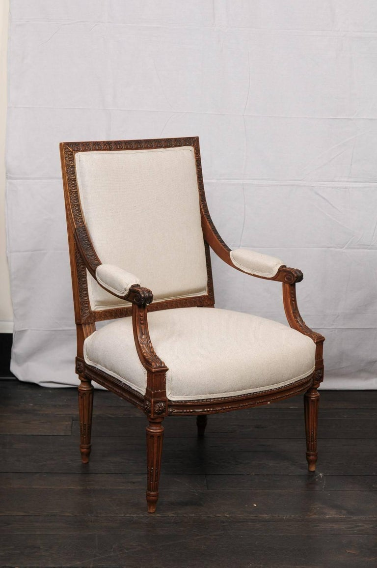 Pair of Mid-20th Century French Louis XVI Style Armchairs of Carved Wood 3