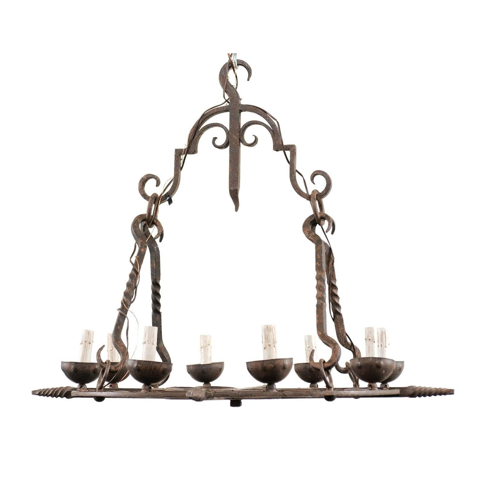 French 8-Light Circular Iron Chandelier Nicely Adorn w/Twists, Hearts, & Scrolls