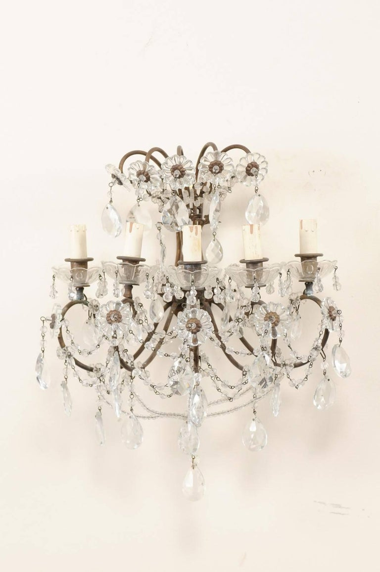 Beaded Pair of Italian Crystal Sconces w/ Waterfall Tops and Scrolling Metal Armature For Sale