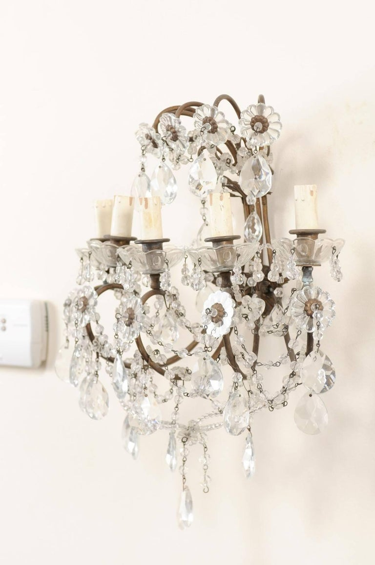 20th Century Pair of Italian Crystal Sconces w/ Waterfall Tops and Scrolling Metal Armature For Sale