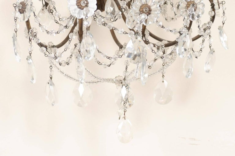 Pair of Italian Crystal Sconces w/ Waterfall Tops and Scrolling Metal Armature For Sale 4