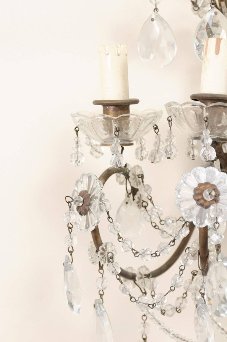 Pair of Italian Crystal Sconces w/ Waterfall Tops and Scrolling Metal Armature For Sale 1