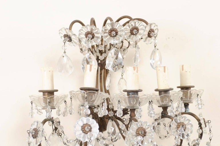Pair of Italian Crystal Sconces w/ Waterfall Tops and Scrolling Metal Armature For Sale 2