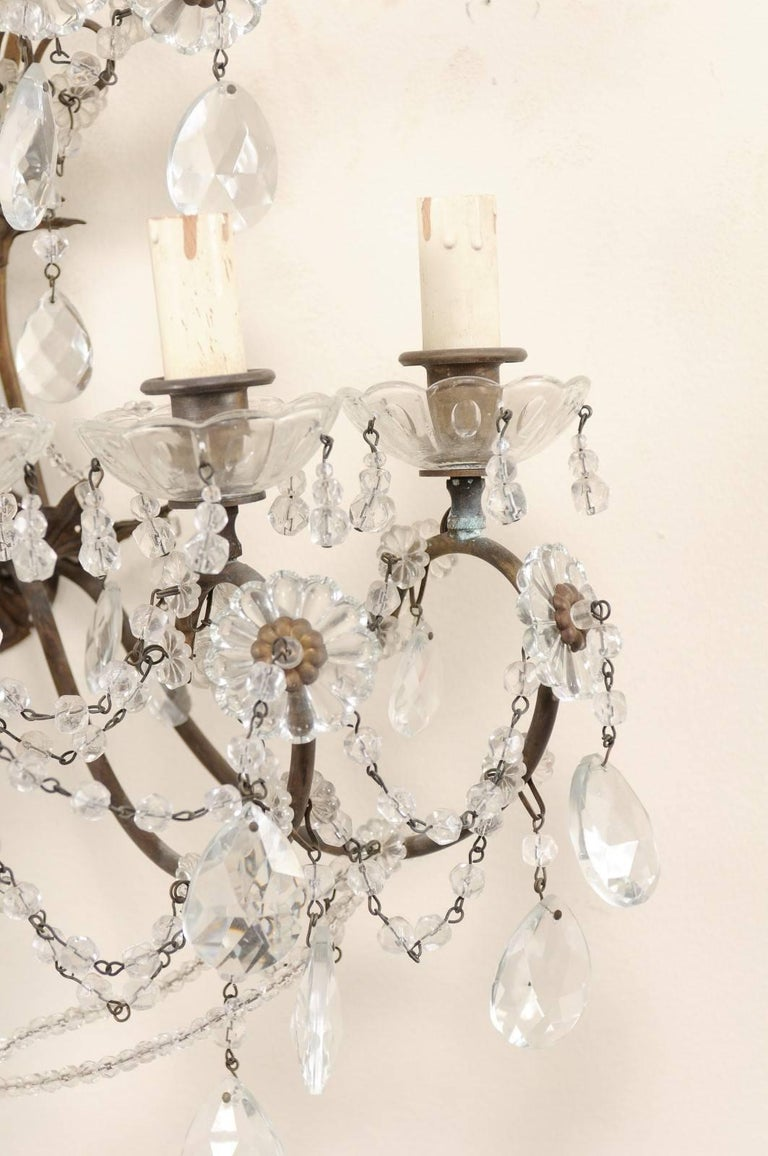 Pair of Italian Crystal Sconces w/ Waterfall Tops and Scrolling Metal Armature For Sale 5