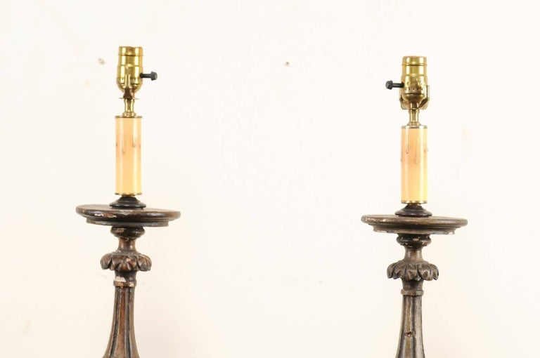 Pair of 19th Century Italian Carved Wood Altar Sticks Made into Tall Table Lamps For Sale 3