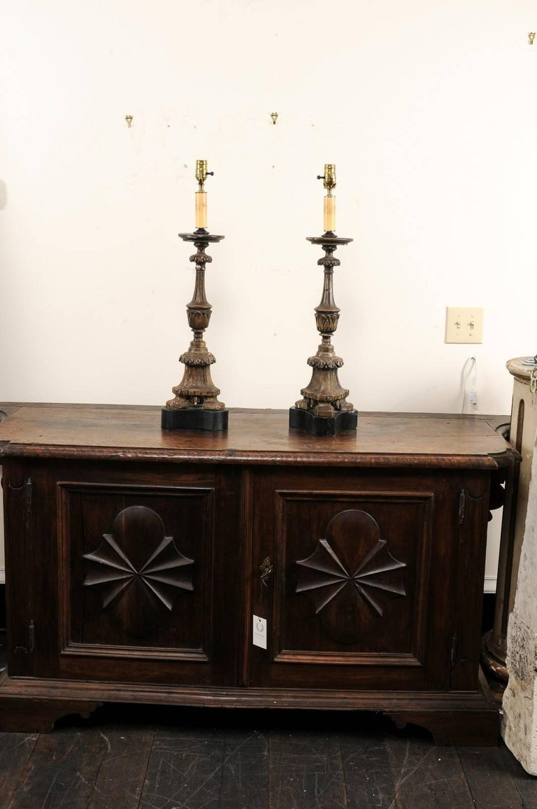 Pair of 19th Century Italian Carved Wood Altar Sticks Made into Tall Table Lamps For Sale 6