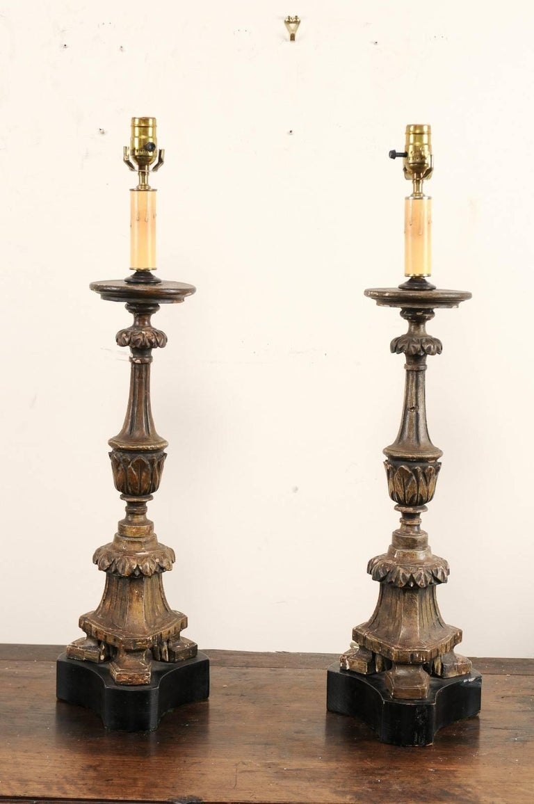 Pair of 19th Century Italian Carved Wood Altar Sticks Made into Tall Table Lamps For Sale 1