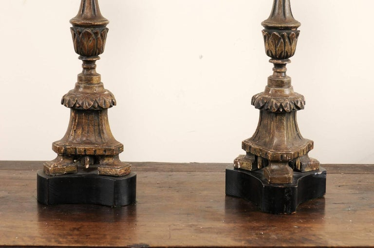 Pair of 19th Century Italian Carved Wood Altar Sticks Made into Tall Table Lamps For Sale 4