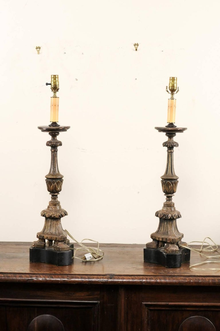 Pair of 19th Century Italian Carved Wood Altar Sticks Made into Tall Table Lamps In Good Condition For Sale In Atlanta, GA