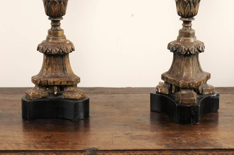 Pair of 19th Century Italian Carved Wood Altar Sticks Made into Tall Table Lamps For Sale 5